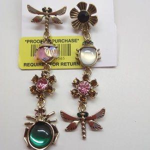 Betsey Johnson New Dragon Fly/Beetle Earrings